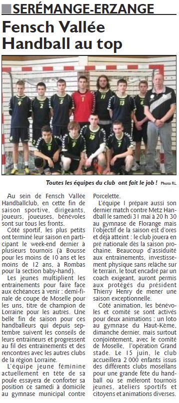 Fensch Vallée Handball au top (Républicain Lorrain)