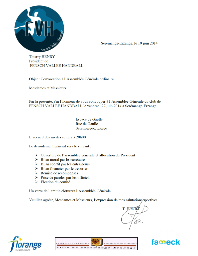 Convocation AG du 27 juin