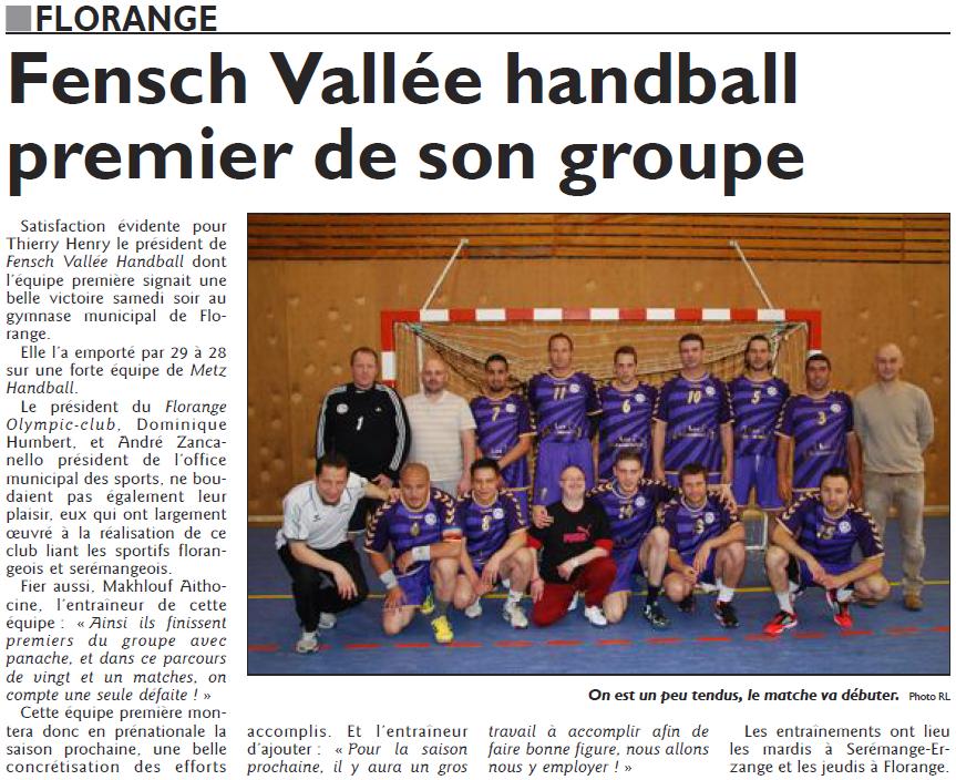 Fensch Vallée Handball premier de son groupe (RL du 5 juin)