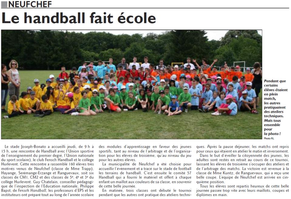 Le handball fait école (RL du mardi 24 juin)
