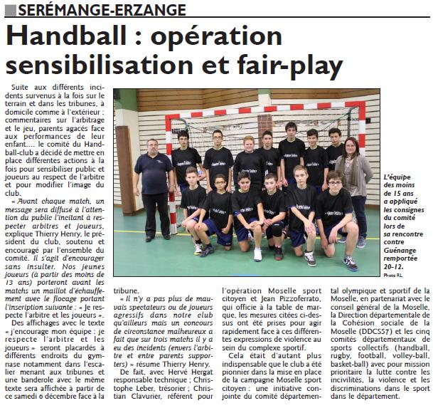 Handball, opération sensibilisation et fair-play