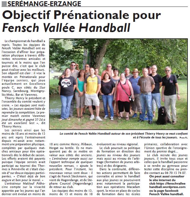 Objectif prénational pour Fensch Vallée Handball