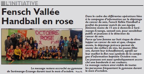 Fensch Vallée Handball en rose