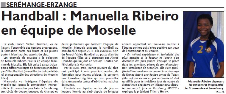 Handball, Manuella Ribeiro en équipe de Moselle