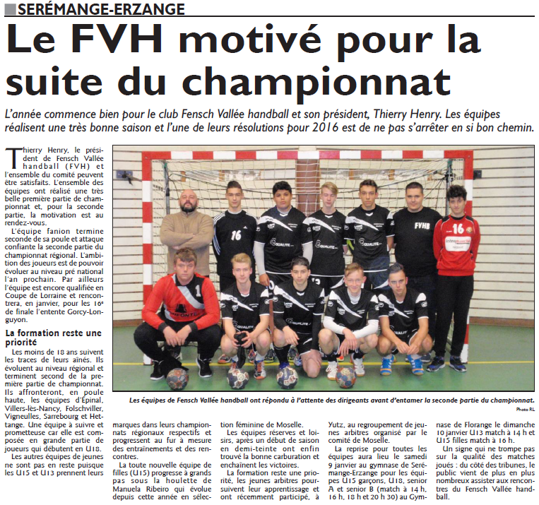 Le FVH motivé pour la suite du championnat