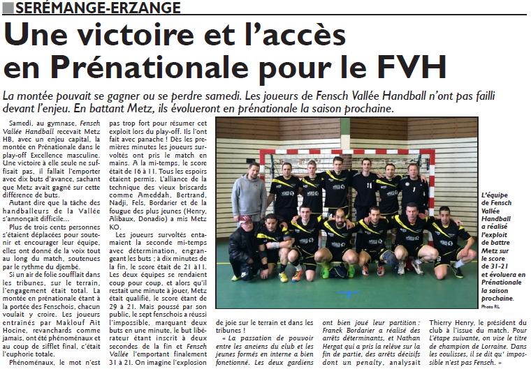 Une victoire et l'accès en prénationale pour le FVH