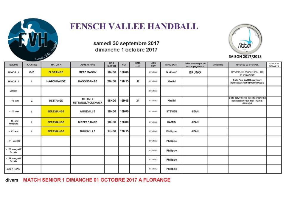 matchs du 30 sept et 1er oct 2017