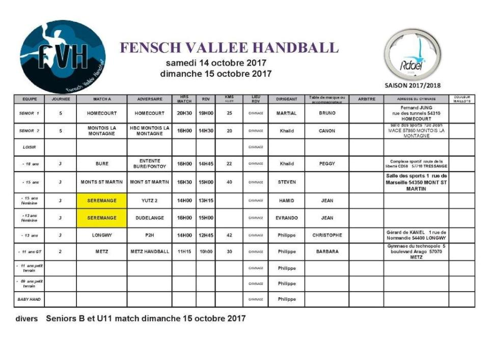 week end du 14 et 15 octobre 2017