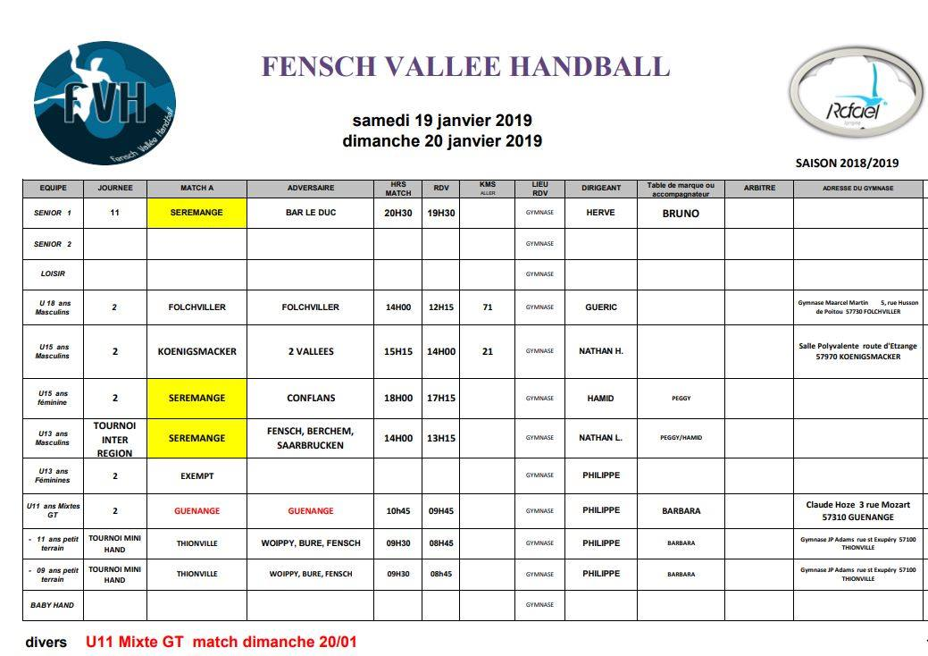 planning match handball janvier